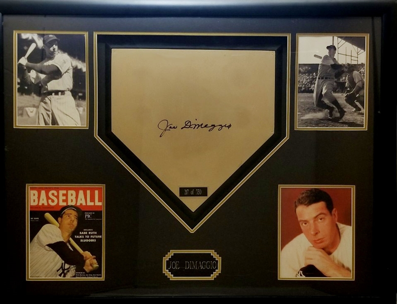Joe DiMaggio Signed Full Size Home Plate 33x43 Framed Display (JSA LOA)