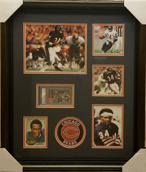 Walter Payton Signed Chicago Bears Calling Card Framed Display (PSA/DNA)