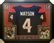 Deshaun Watson Signed Houston Texans Custom Jersey Framed Display (Beckett Witness COA)