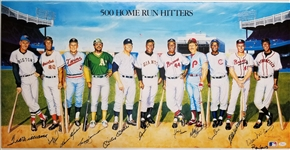 500 Home Run Club Signed 18x37 Lithograph - 12 Signatures w/ Mantle, Williams, Mays & Aaron (JSA LOA)