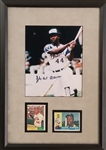 Hank Aaron Signed Braves 8x10 Photo Framed Display w/ 1960 & 1961 Topps Cards (JSA COA)
