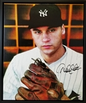 Derek Jeter Signed Yankees 22x26 Stretched Canvas (PSA/DNA LOA & Steiner Hologram)