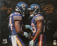 Jordan Howard & Tarik Cohen Signed Chicago Bears 16x20 Photo (Beckett Witness COA)