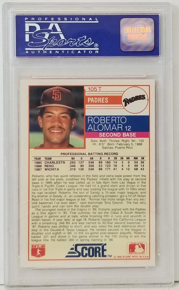 Lot Detail Roberto Alomar 1988 Score Traded Rookie Card 105t