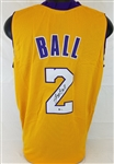 Lonzo Ball Signed Los Angeles Lakers Custom Yellow Jersey (Beckett Witness COA)