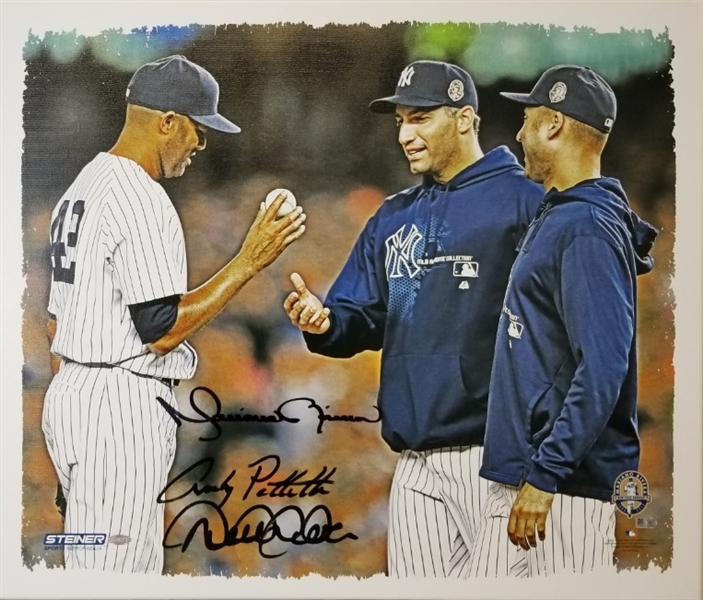 Derek Jeter, Mariano Rivera & Andy Pettitte Signed Yankees 20x24 Stretched Canvas (Steiner COA)
