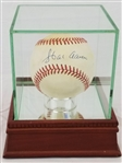 Hank Aaron Signed ONL Baseball w/ Steiner Sports Glass Display Case (PSA/DNA COA)