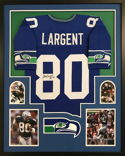 "Steve Largent ""HOF 95"" Signed Seattle Seahawks Custom Jersey Framed Display (JSA Witness COA)"