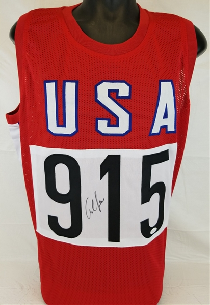 Carl Lewis Signed USA Olympics Track & Field Custom Jersey (JSA Witness COA)