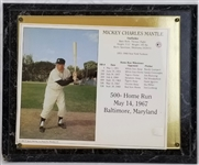 Mickey Mantle Yankees 500th Home Run Commemorative 10.5x13 Plaque