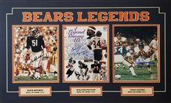 Walter Payton, Dick Butkus & Gale Sayers Signed 18x30 Matted 8x10 Photos Display (JSA & Schwartz COAs)