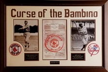 "Babe Ruth ""Curse of the Bambino"" Yankees and Red Sox Framed Display"