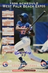 Vladimir Guerrero Signed 1996 West Palm Beach Expos 11x16.5 Schedule (JSA COA)