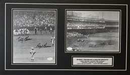 Bobby Thomson & Ralph Branca Signed 8x10 Photos (2) Matted 14x24 Display (JSA COAs)