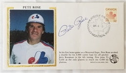 Pete Rose Signed Montreal Expos 4,000th Hit 3.5x5.5 1984 Cachet Envelope (JSA COA)