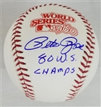 "Pete Rose ""80 WS Champs"" Signed Official 1980 World Series Baseball (JSA COA)"