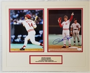 Pete Rose Signed Cincinnati Reds 8x10 Photo Matted Display (JSA COA)