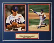 Nolan Ryan Signed Bloody Face Photo 8x10 Photo Matted Display (JSA COA)