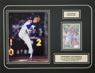 Fernando Valenzuela Signed 1985 Donruss #37 Card 14x18 Matted Photo Display (JSA COA)
