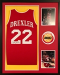 Clyde Drexler Signed Houston Rockets Custom Jersey Framed Display (JSA Witness COA)