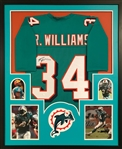 Ricky Williams Signed Miami Dolphins Custom Jersey Framed Display (JSA Witness COA)