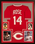 "Pete Rose ""4256"" Signed Cincinnati Reds Custom Jersey Framed Display (JSA Witness COA)"