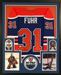 Grant Fuhr Signed Edmonton Oilers Custom Jersey Framed Display (JSA Witness COA)