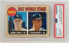 Aaron Judge & Tyler Austin 2017 Topps Heritage #214 Rookie Card - Graded Gem Mint 10! (PSA/DNA)