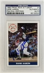 Hank Aaron Signed 1992 Front Row All-Time Great #1 Card (PSA/DNA)
