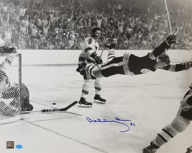 Bobby Orr Signed Boston Bruins Flying Goal 16x20 Photo (SOP & GNR COAs)