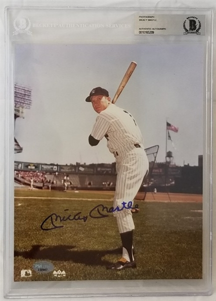 Mickey Mantle Signed New York Yankees 8x10 Photo (Beckett Certified)