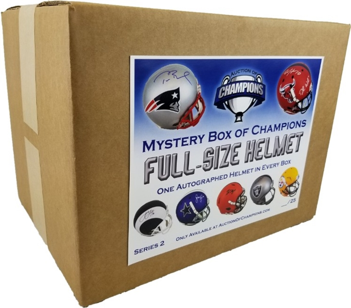 #14 of 25 - Autographed Full Size Helmet Mystery Box - Series 2 - Find the Tom Brady!