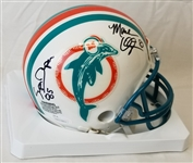 Mark Clayton & Mark Super Duper Signed Miami Dolphins Mini Helmet (JSA Witness COA)