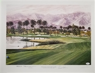 Arnold Palmer & Ed Seay Signed 16x20 Mission Hills 17th Hole Lithograph (JSA COA)