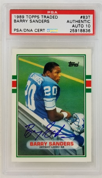 Lot Detail Barry Sanders Signed 1989 Topps Traded 83t