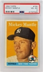 Mickey Mantle Yankees 1958 Topps #150 Card - Graded VG-EX 4 (PSA)