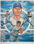 Mickey Mantle Signed New York Yankees 22x28 Color Lithograph Lmt Ed. #19/750 (JSA LOA)