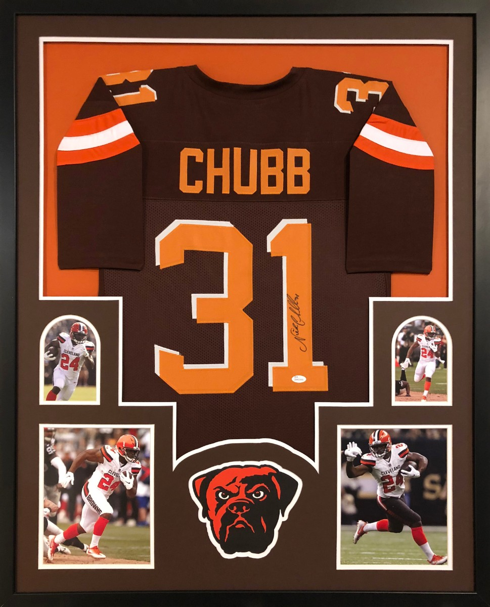 e13e4de2d54 Nick Chubb Signed Cleveland Browns Custom  31 Jersey Framed Display (JSA  Witness COA). Hover to zoom