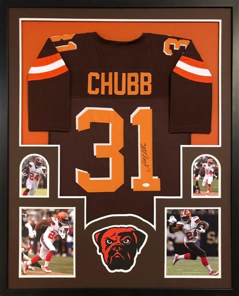 464527403 Nick Chubb Signed Cleveland Browns Custom  31 Jersey Framed Display (JSA  Witness COA)