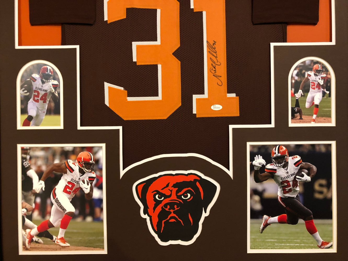 79674ad72 Nick Chubb Signed Cleveland Browns Custom  31 Jersey Framed Display (JSA  Witness COA). Hover to zoom. Prev Next