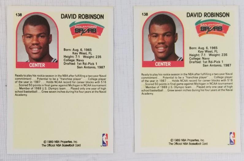 Lot Detail Lot Of 2 David Robinson 1989 Nba Hoops 138