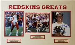 Redskins Greats (Theismann, Rypien & Williams) Signed 18x30 Matted Photo Display (JSA COAs)