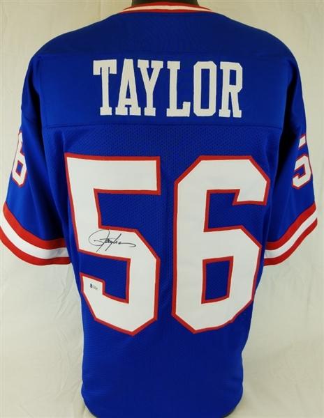 eb85859db97 Lawrence Taylor Signed New York Giants Custom Jersey (Beckett Witness COA)