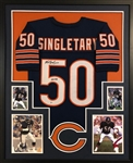 "Mike Singletary ""HOF 98"" Signed Chicago Bears Custom Jersey Framed Display (Beckett COA)"