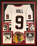 "Bobby Hull ""HOF 1983"" Signed Blackhawks Custom Jersey Framed Display (JSA Witness COA)"