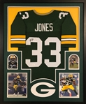 Aaron Jones Signed Green Bay Packers Custom Jersey Framed Display (JSA Witness COA)