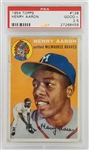 Hank Aaron Braves 1954 Topps #128 Rookie Card - Graded Good + 2.5 (PSA)