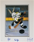Jaromir Jagr, Rick Tocchet and Kevin Stevens Signed Pittsburgh Penguins 18x22 Bugs Bunny Lithograph (JSA COA)