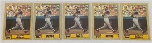 Lot of (5) Barry Bonds Pittsburgh Pirates 1987 Topps #320 Rookie Cards