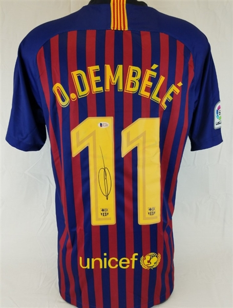 3a8ff2dcb Ousmane Dembele Signed Authentic FC Barcelona Nike Dri-Fit Soccer Jersey ( Beckett Witness COA